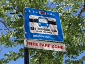 UTA bus free fare zone sign
