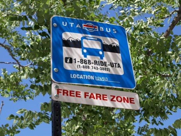 UTA bus free fare zone sign