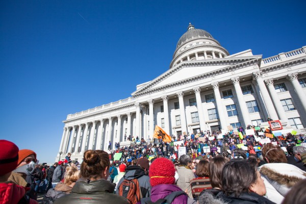 Utah Clean Air rally looking at the Capitol building