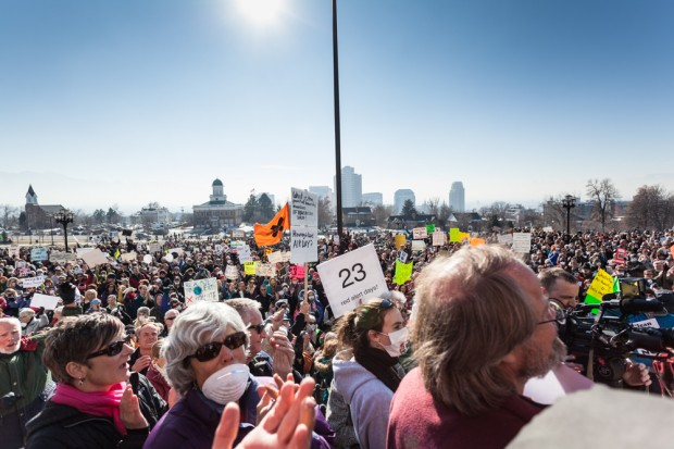 clean air rally protestors in crowd