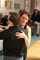 Tango couple at a milonga