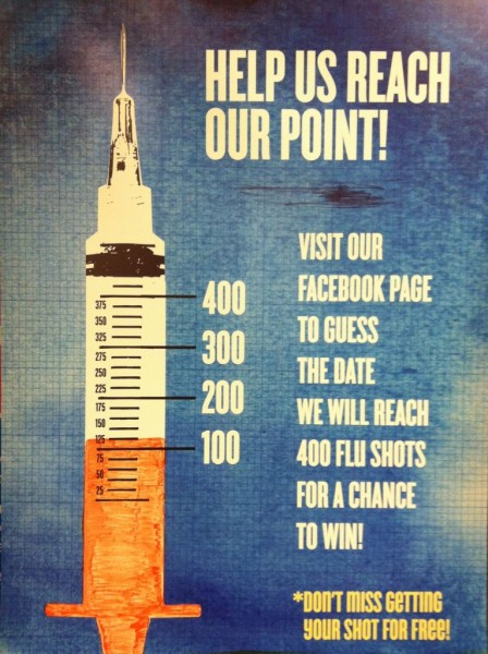 Health and Wellness poster showing how many flu shots given away as of Sept. 18.