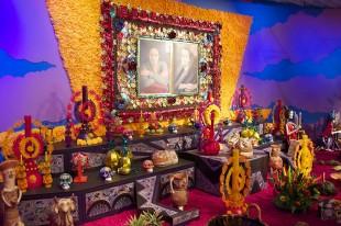 A traditional Dia de los Muertos altar.
