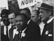 Dr. Martin Luther King, Jr. and Mathew Ahmann in a crowd at the civil right march on Washington, D.C.