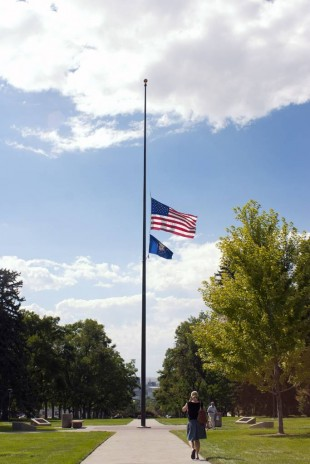 Flag is lowered to half mast in rememberance of September 11th.