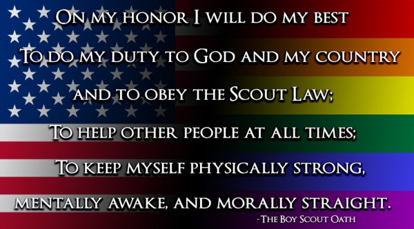 The Boy Scout Oath now applies to straight and gay scouts