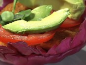 Meatless burger with avocados and tomatoes