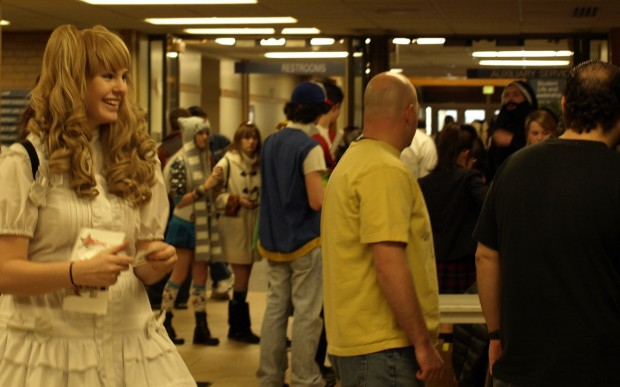 More than a hundred people crowed the halls of the student center, some in elaborate costumes, for the SLC Anime Fest on Friday night