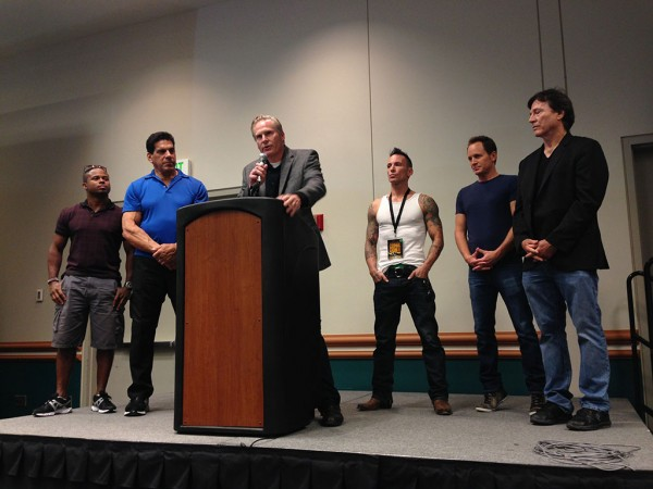from left to right -Walter Jones, Lou Ferrigno, Dan Farr, Noah Hathaway, David Yost, and Richard Hatch