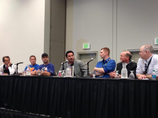 Guest stars (left to right) Batton Lash, Johnathan Decker, Bill Galvan, Dean Cain, Jake Black, Kevin Anderson, and moderator Sean Means