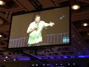 Shatner on a large screen.