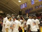 SLCC basketball hoists championship trophy