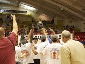 Players hoist trophy