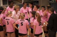 SLCC volleyball team in pink