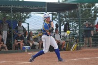 Sophomore designated player Whitney Holt smacks a pitch to centerfield against Chipola College at Nationals.