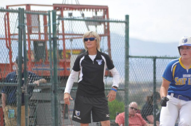 SLCC Head Coach Mary Kay Amicone looks on during the SLCC matchup with Chipola at Nationals (Sophomore designated player Whitney Holt also pictured at right).