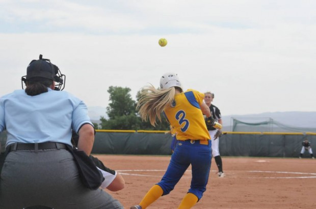 Sophomore outfielder Malia Campos connects with a 2-1 pitch for a base hit against Weatherford College at NJCAA Nationals.