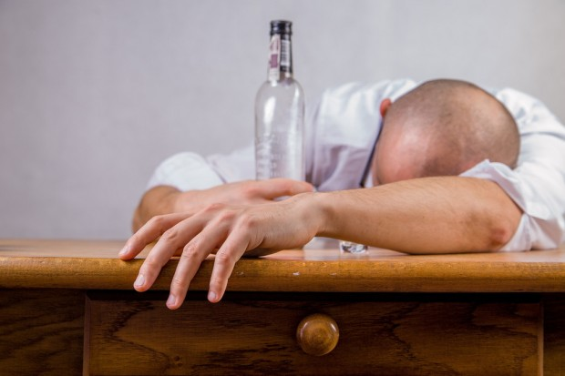 Man suffering from a hangover
