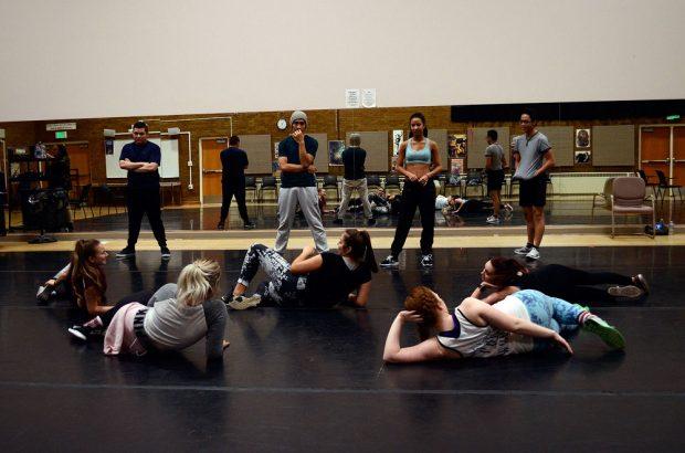 Dance company members at practice
