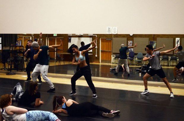 Dance company rehearsal