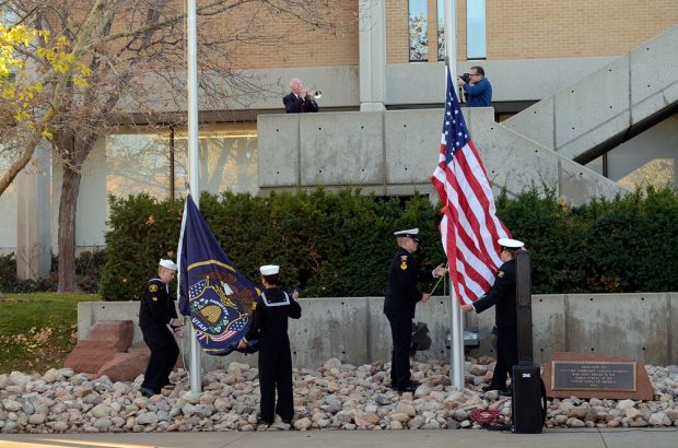 Flag ceremony at Redwood