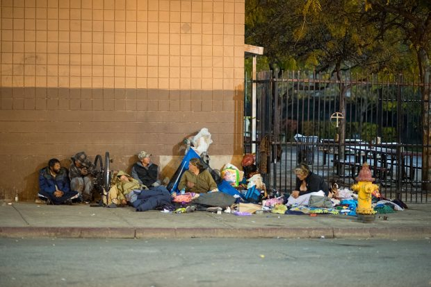 Homeless outside The Road Home