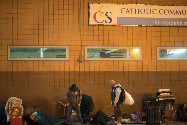 Homeless outside St. Vincent de Paul Dining Hall