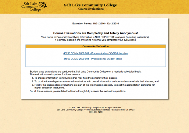 Course evaluations page