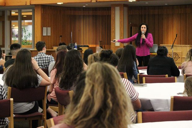 Amy Rees Anderson speaks to students