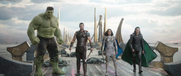 From left to right: Hulk, Thor, Valkyrie and Loki