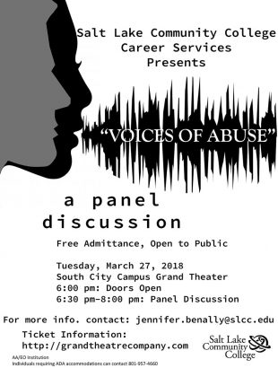 Voices of Abuse panel discussion flyer