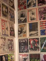 Close-up of magazine covers