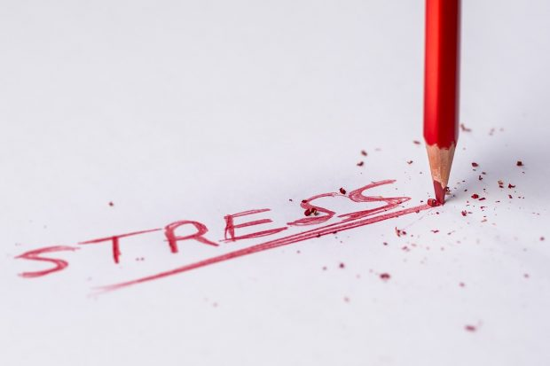 """""""Stress"""" in red pencil"""