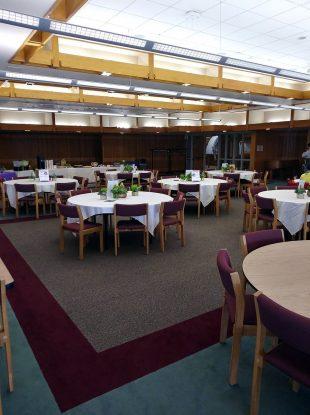 Empty Oak Room before tea celebration