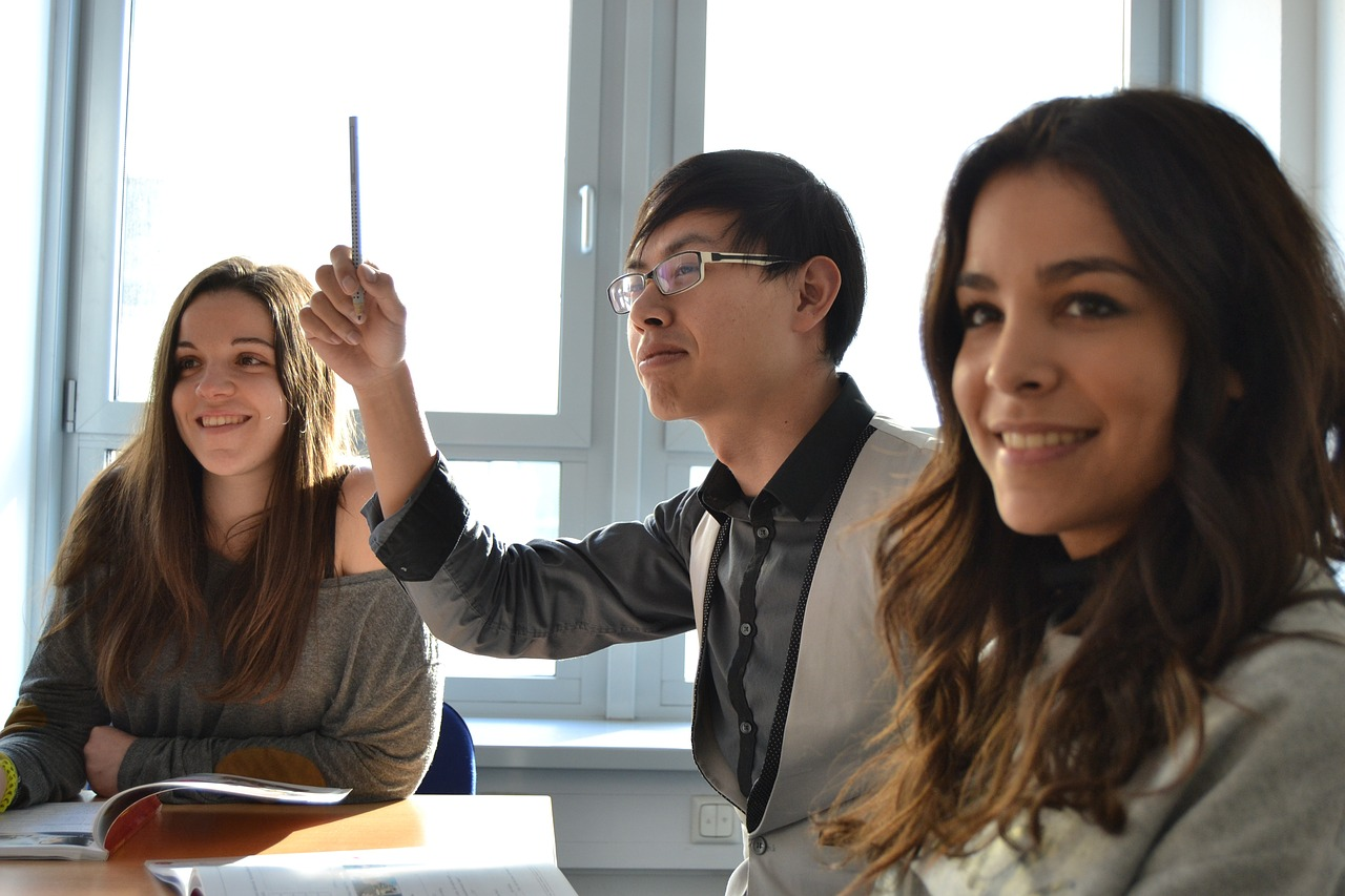 Multicultural students in a language class
