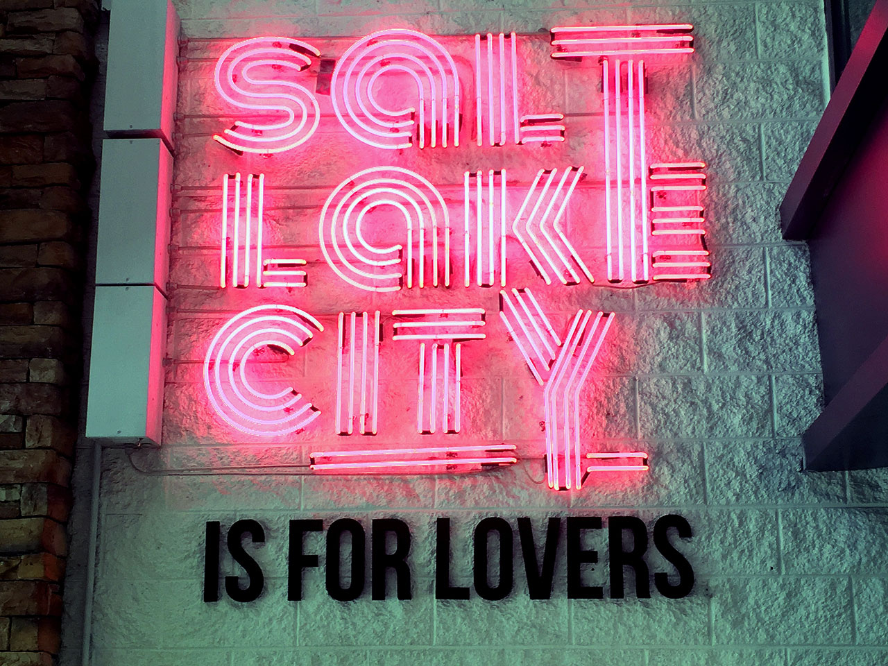 """Salt Lake City is for Lovers"" neon sign"