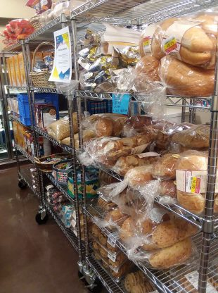 Bakery carts inside the Bruin Pantry