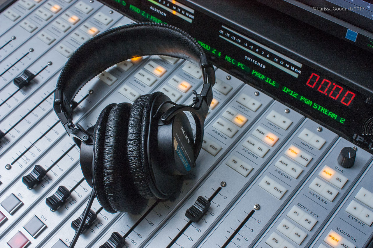 Headphones on the mixing board
