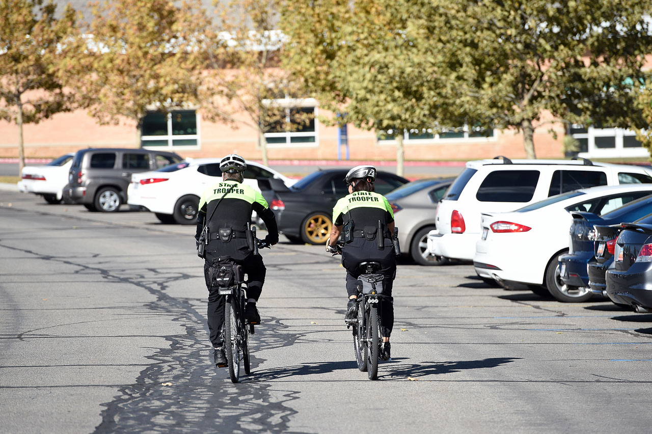 Two troopers on bicycle patrol