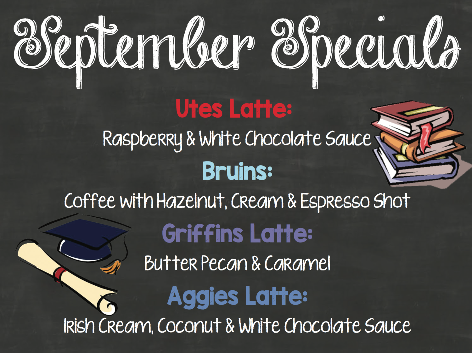 Graphic describing September Specials at Bjorn's Brew