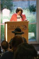 Jessica Castro speaks from a podium