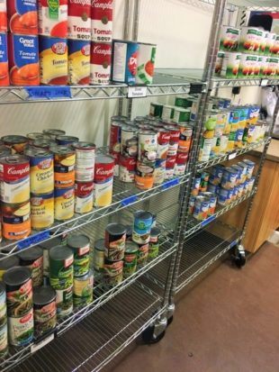 Canned goods inside the Bruin Campus Cupboard