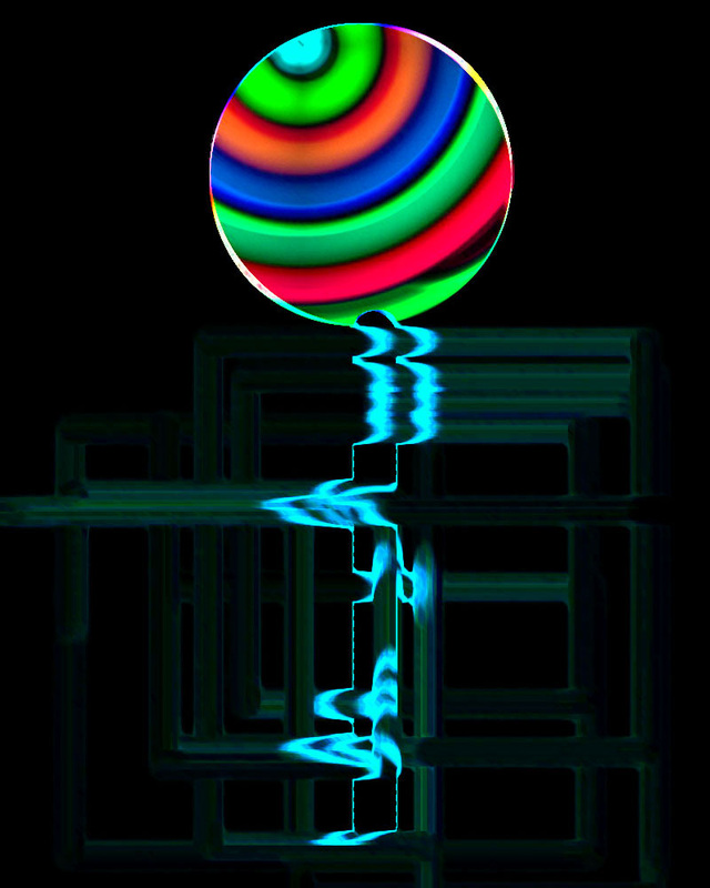 Multicolored ball with neon streaks