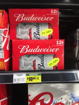 Cases of Budweiser with a 5 percent alcohol by volume sticker