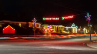 """""""Christmas Street"""" sign welcomes visitors"""