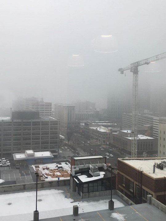 Inversion traps the haze over Downtown Salt Lake