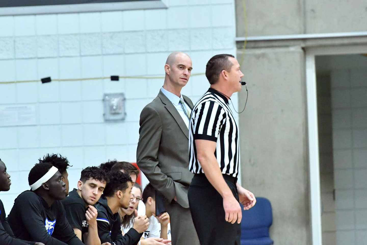 Kyle Taylor talks to a referee