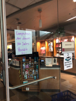 Computers are down, no sales possible in bookstore