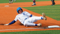 Dalton Hodge slides to third base
