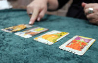 Tarot cards laid out on a table